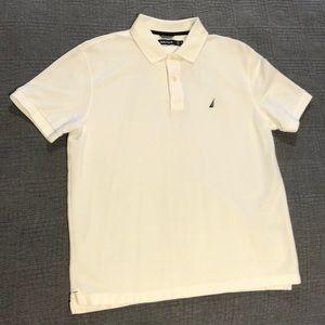 Nautica short sleeve white collared cotton shirt
